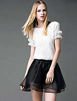 Women's Solid/Lace White Blouse , Round Neck Short Sleeve Lace