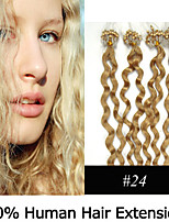 3 Set 20 inch Remy Micro Ring/Loop Hair Curly 0.5g/s Human Hair Extensions 8 Colors for Women Beauty