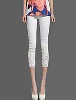 Women Solid Color Legging , Cotton Blends/Lace Medium
