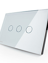 Livolo US/UA Standard Touch Switch,White Crystal Glass Panel, 110~220V, 3 Gang1Way,White/Black Color, VL-C303-81/82