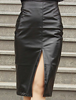 Women's Bodycon/Work Midi Skirts , Leather Inelastic