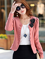 Women's Solid Pink/Red/White/Black Blazer , Casual Shirt Collar Long Sleeve Button