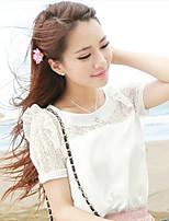 Women's Casual Inelastic Short Sleeve Regular Blouse (Others)