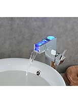 contemporaine changement de couleur chrome LED Robinet lavabo