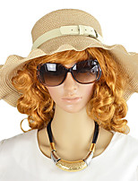 New Trendy Women Beach Style Beige Pink Fashion Straw Hat