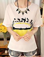 Women's Casual Micro-elastic Short Sleeve Regular Blouse (Chiffon)