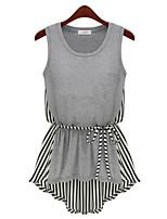 Women's Casual Inelastic Sleeveless Long T-shirt (Cotton Blends)