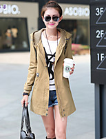 Women's Vintage/Casual/Cute/Party Opaque Long Sleeve Long Trench Coat (Polyester/Cotton Blends)