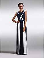 Homecoming Formal Evening Dress Sheath/Column V-neck Floor-length Chiffon/Lace