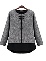 Women's Solid Gray T-shirt , Round Neck Long Sleeve Button/Layered