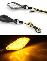 Motorcycle 12 LED Stalk Turn Signals Indicators Yellow Light (2 Pcs)
