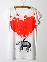 2015 Fashion Women Summer Red Balloon and Elephant Printing T-shirt Top Tee
