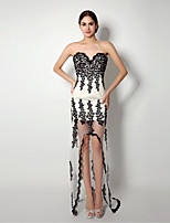 Formal Evening Dress - Black Sheath/Column Sweetheart Asymmetrical / Sweep/Brush Train Lace