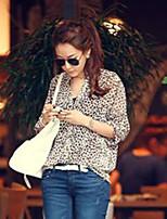 Women's Sexy Casual Cute Plus Sizes Inelastic ¾ Sleeve Regular Blouse (Chiffon)