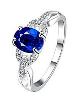 European Style Simple Round Shape Copper Silver Plated Zircon Ring For Women(Blue)(1Pc)
