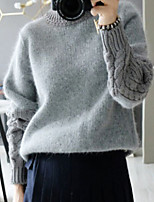 Women's Solid/Patchwork Gray Pullover , Casual Long Sleeve