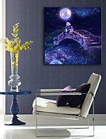 E-HOME® Stretched LED Canvas Print Art Small Bridge Fishing LED Flashing Optical Fiber Print
