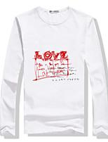 Men's Casual/Work/Sport Print Long Sleeve Regular T-Shirt (Cotton Blend)