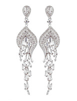 Women's European Style Fashion Elegant Peacock Alloy Zircon Drop Earrings