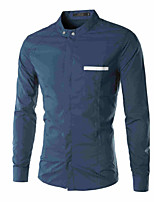 Men's Long Sleeve Shirt , Cotton/Polyester Casual/Work Pure