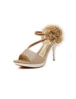 Women's Shoes Kitten Heel Heels/Open Toe Sandals Casual Silver/Gold