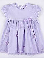Girl's Summer Micro-elastic Medium Short Sleeve Dress (Cotton)