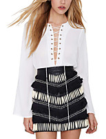 Women's Long Sleeve Lace-up Loose Chiffon Sexy See-through Blouse