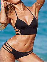 Bikinis Aux femmes Couleur Pleine/Bandage Push-up/Soutien-gorge à Armatures/Soutien-gorge Sans Rembourrage Licou Polyester/Spandex