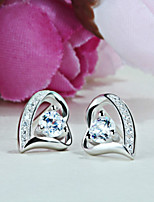 Women's SilverHeart Style Stud Earrings With Cubic Zirconia