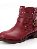 Zapatos de mujer - Tacón Robusto - Botas Anfibias / Punta Redonda - Botas - Casual - Cuero Sintético - Negro / Rojo