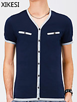 Men's Casual Pure Short Sleeve Regular T-Shirt (Cotton) XKS7F21