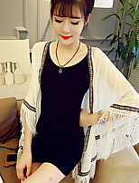 Women's Cardigan Embroidery Edge Batwing Sleeve Tassel T-shirt