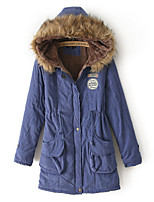 Women's Solid Blue/Pink/Red/Black/Green/Yellow Parka Coat , Casual Hooded Long Sleeve