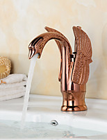 Contemporary Rose Gold Swan Shape Bathroom Basin Faucet (Short)