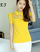 CXI72®Women's Casual/Party/Work Micro-elastic Short Sleeve Regular T-shirt (Organza/Knitwear/Acrylic)