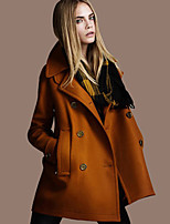 Women's Solid Black/Orange Coat , Casual Long Sleeve Others/Polyester Pocket/Button