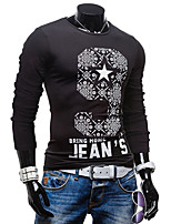 Men's Casual/Work Print Long Sleeve Regular T-Shirt
