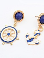 Navy Blue Anchor Earring And Navy Blue Rudder Earring(Navy Blue)(1Pr)