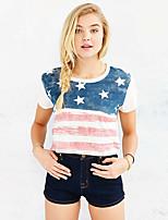 Women's Casual American Apparel American National Flag Print Loose T-Shirt