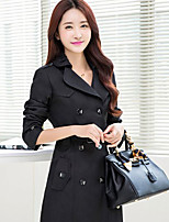 Women's Casual Work Plus Sizes Medium Long Sleeve Long Trench Coat (Polyester)