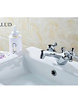 KALUD Chrome Two Handle Finished Solid Brass Kitchen Faucet