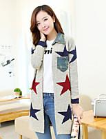 Women's Casual Stretchy Medium Long Sleeve Denim/Knitwear) SF7B39