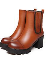 Women's Shoes Leather Chunky Heel Heels/Combat Boots/Round Toe Pumps/Heels Outdoor/Casual Black/Brown