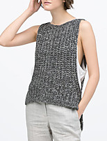 Women's Sexy Casual Cute Micro Elastic Thin Sleeveless Pullover (Knitwear)