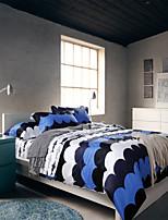 H&C 100% Cotton 800TC Duvet Cover Set 4-Piece White,Blue,Deep Blue Joint OT4-007