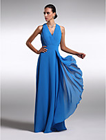 Floor-length Chiffon / Charmeuse Bridesmaid Dress - Royal Blue Plus Sizes / Petite Sheath/Column V-neck