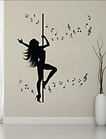 Wall Stickers Wall Decals Style Steel Tube Dance Music PVC Wall Stickers
