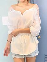 Damen Bluse Spitze ¾-Arm V-Ausschnitt