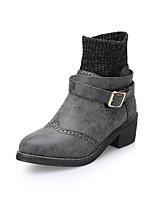 Women's Shoes Low Heel Round Toe Boots Casual Black/Brown