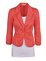 Women's Solid Blue/White/Black/Orange Blazer , Work Shirt Collar Long Sleeve